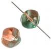 Glass Bead Baroque Round 10mm Orange/Teal Green - Strung